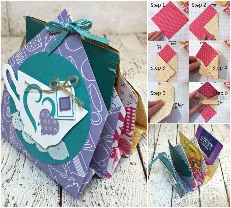 basteln karten teebeutel päckchen verpacken anleitung idee #bastelideen #weihnachtskarten #christmascards #cards #tea
