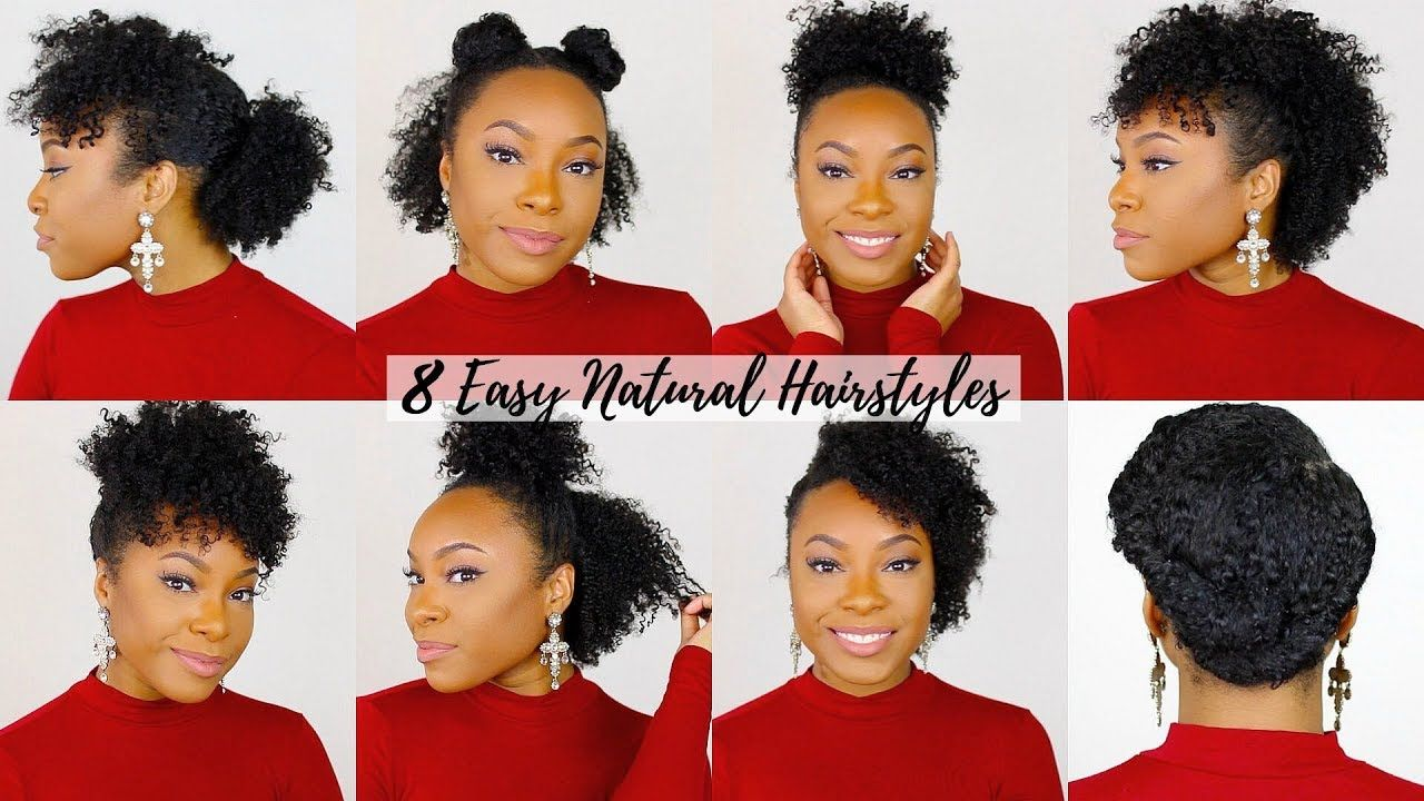 4 QUICK & EASY Hairstyles for Short/Medium Natural Hair  Perfect