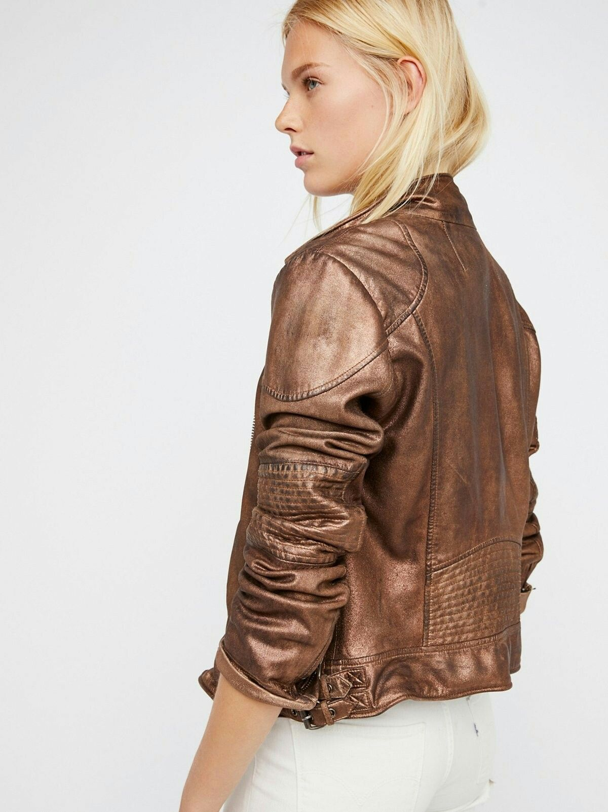 Free People Metallic Bronze Fitted And Rugged Leather Jacket Leather Jacket Jackets Fashion