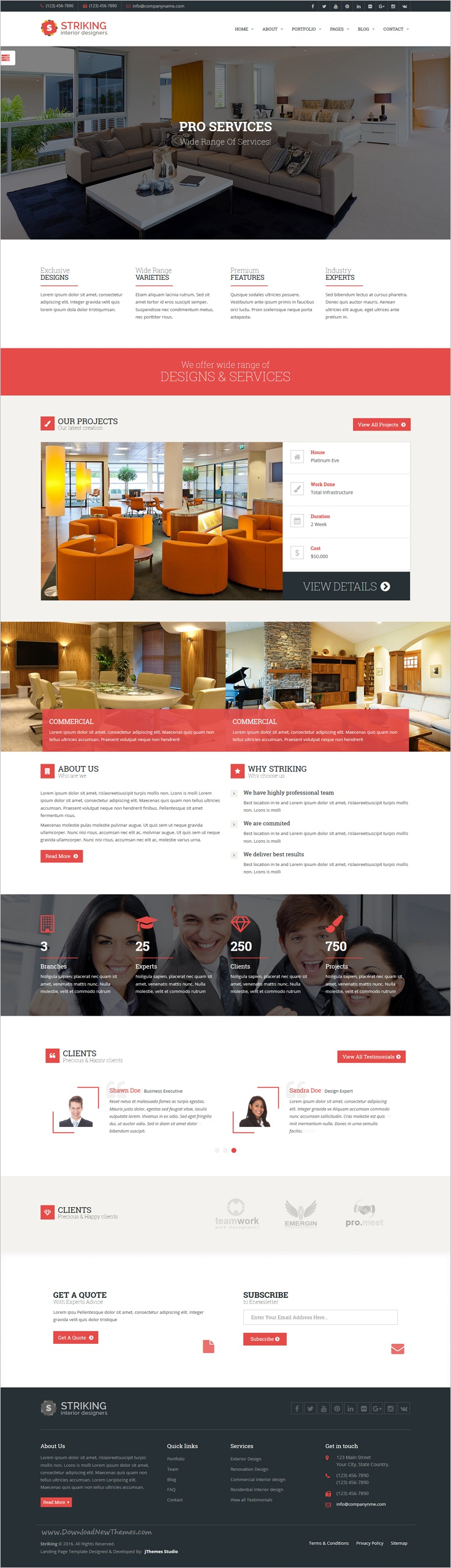 Striking Interior Design, Corporate, Industry Company WordPress Theme