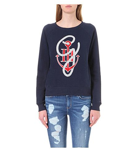 TOMMY HILFIGER Tommy X Gigi Anchor-Print Cotton-Blend Sweatshirt. #tommyhilfiger #cloth #tops