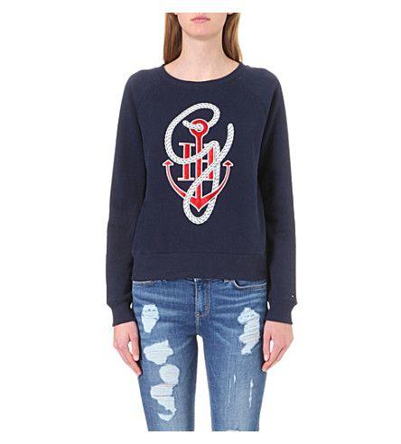 TOMMY HILFIGER Tommy X Gigi Anchor-Print Cotton-Blend Sweatshirt. #tommyhilfiger #cloth #tops