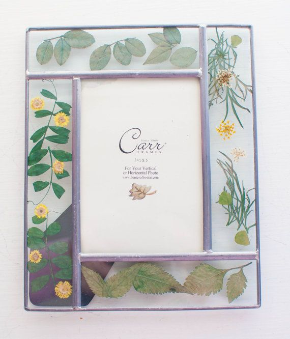 Glass Picture Frame with Pressed Flowers Lead by