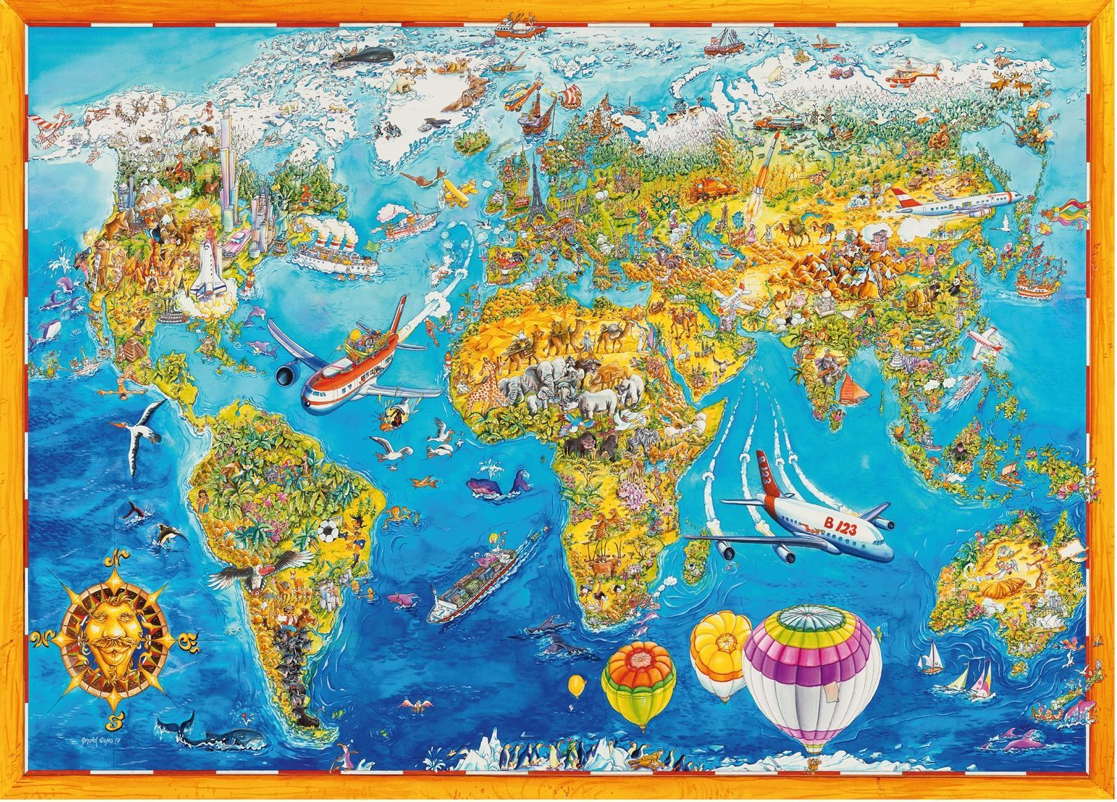 1000 piece comic collection jigsaw puzzle world map 05135 for sale