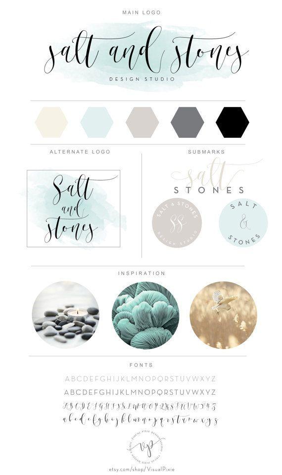 Paquet de marque – à la menthe aquarelle calligraphique, conception de logo minimaliste – … - Typographie