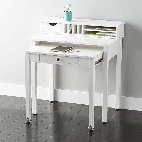 White Solid Wood Roll Out Desk Desks For Small Spaces Small Space Office Home Office Design
