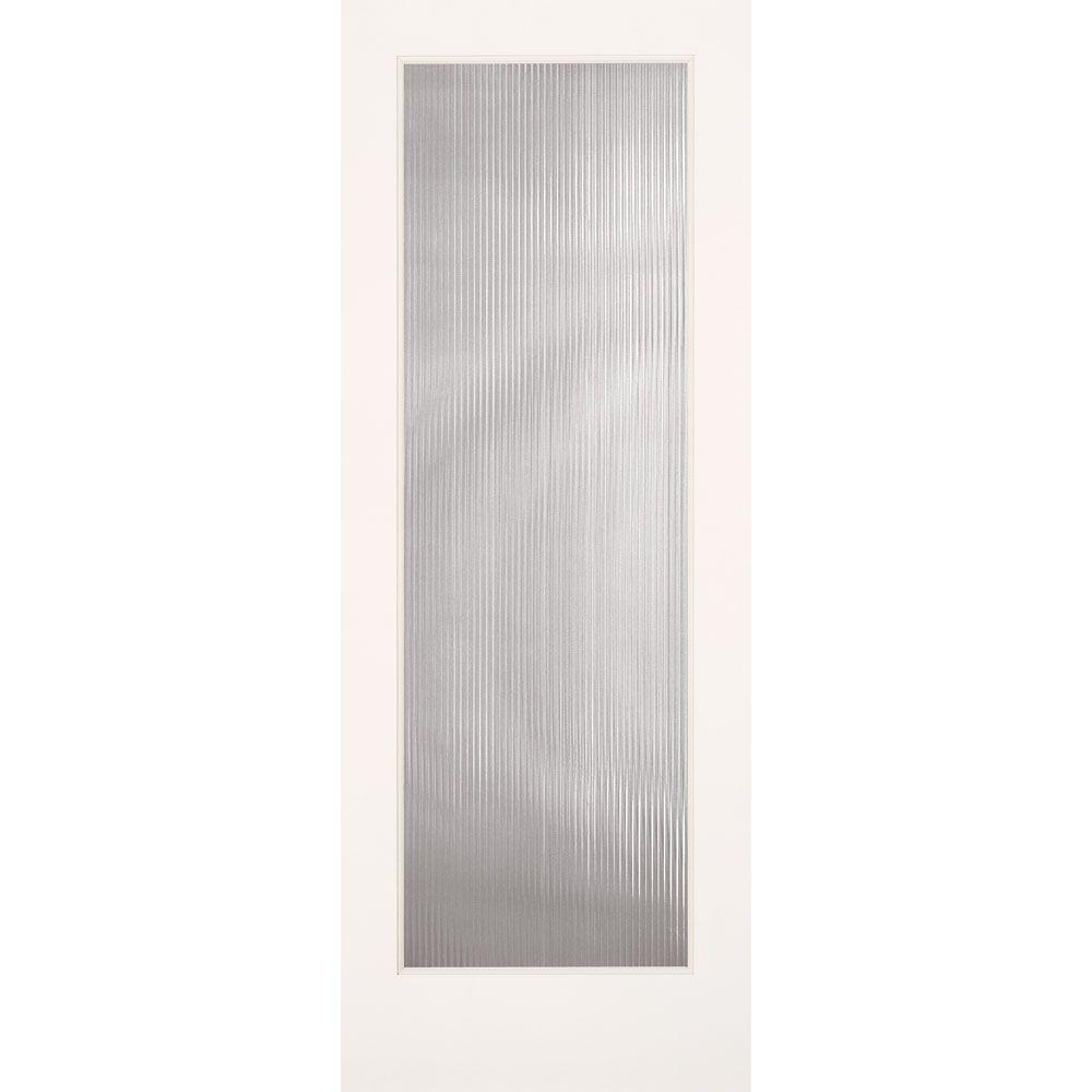 Feather River Doors 32 In X 80 In Reed Smooth 1 Lite Primed Mdf Interior Door Slab Pn15012868g450 The Home Depot Glass Doors Interior Frosted Glass Interior Doors Doors Interior