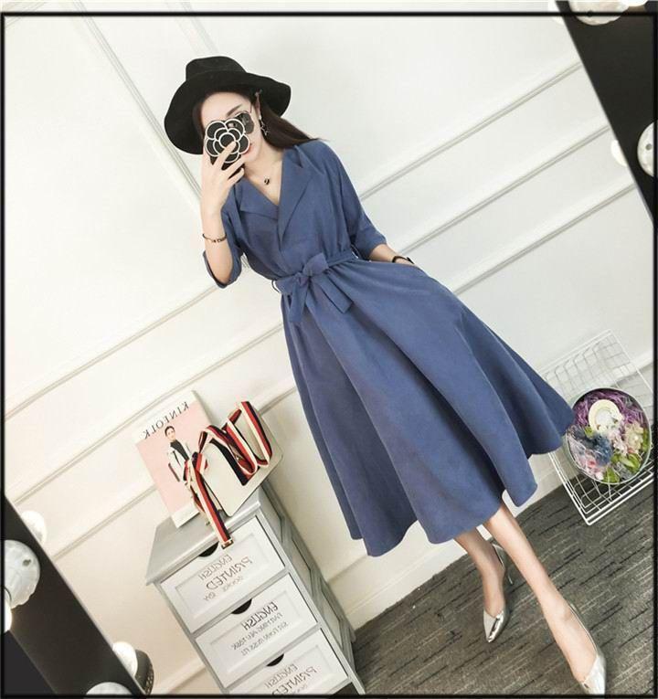 韓国秋ファッションワンピース2color長袖 レース 膝ワンピース 韓国ファッション 花柄ワンピース vネックワンピース ワンピース fashion dresses style
