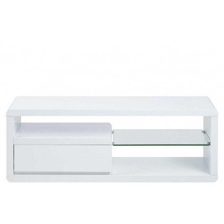 Superbe meuble TV fait en bois, avec un revêtement blanc en mélamine