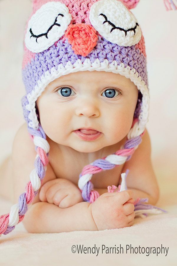 2a6ac4c95e3 Owl Hat Crochet Pink and Purple Sleepy Owl hat Newborn to Toddler  Photography Prop.  21.00