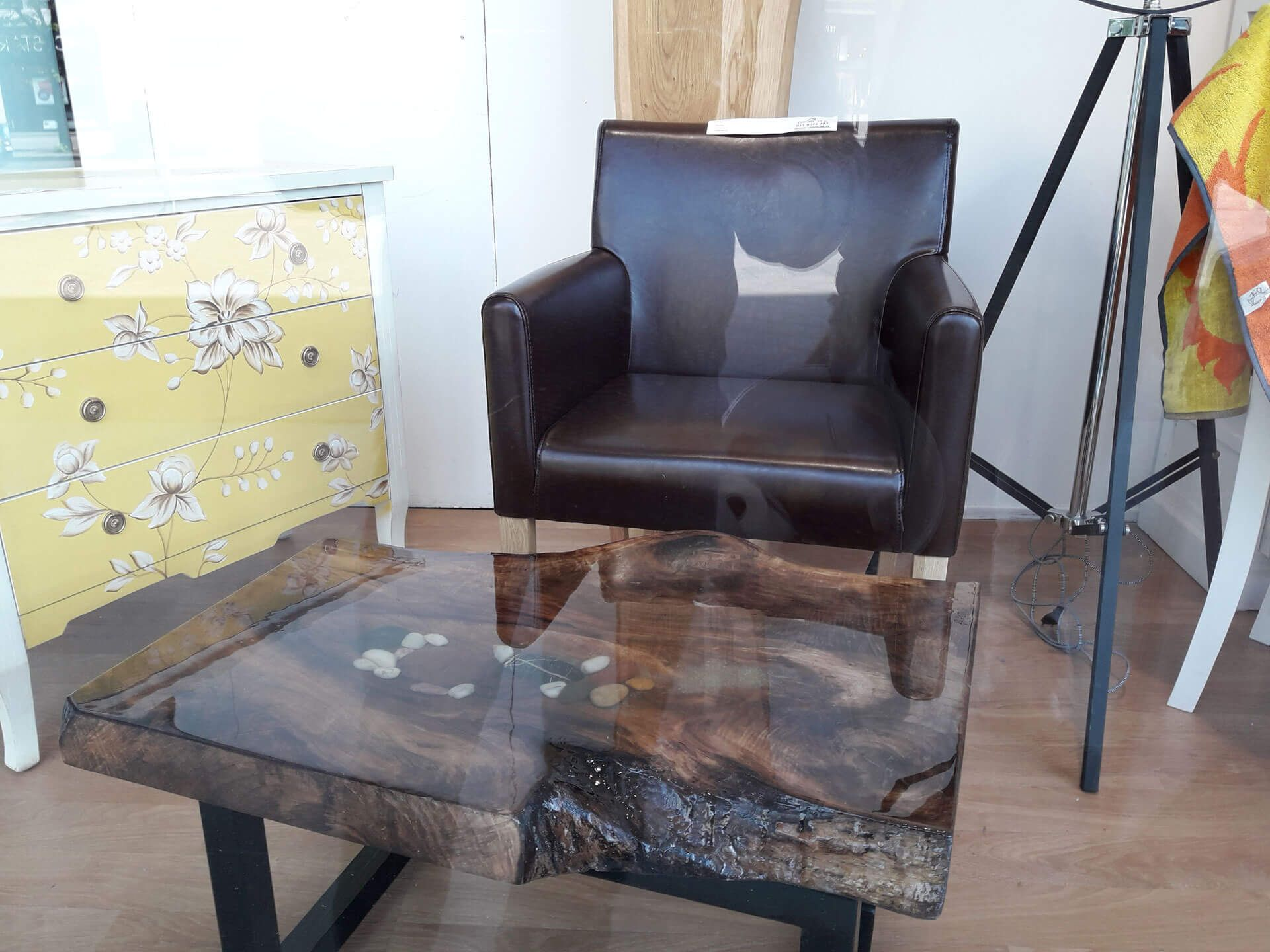 Walnut wood resin river rock coffee table