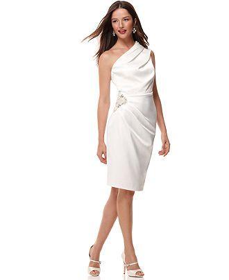 54f9fc43bc20 Eliza J Dress, Sleeveless One Shoulder Pleated Beaded - Womens Dresses - Macy's  sale $94.50