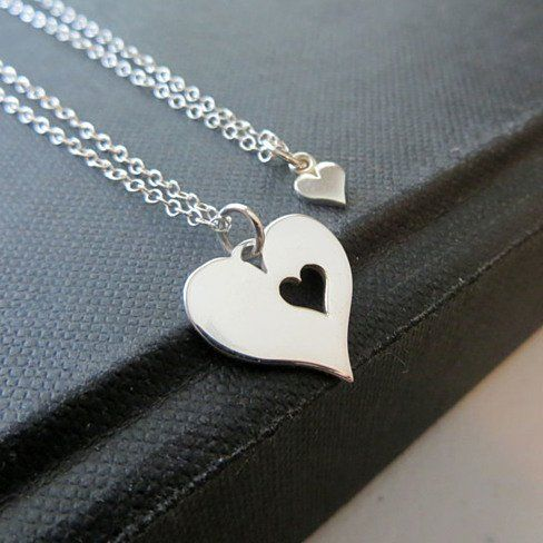 Mother and daughter heart necklace, two sterling silver heart necklaces.  How cute is that???