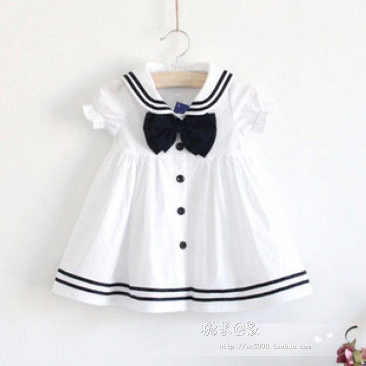 Summer girl white dress sailor navy collar cotton one