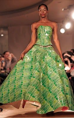 Gary Harvey Created A One Of A Kind Couture Outfit Made From Recycled Weleda Skin Food Packaging Recycled Dress Couture Outfits Art Dress