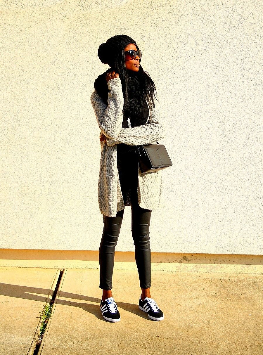 gilet maille blog mode tenue casual adidas gazelle | Black