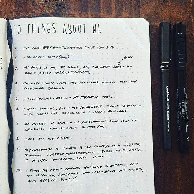 #planwithmechallenge Howdy 10 Things About Me  1. I've only been bullet journaling since Jan 2016 2. I am a coffee addict (snob) 3. My family is me, Mr Auslife, my 7yo Great Dane (Bella) and my rescue moggy #daisytheshitten 4. I'm a vet - which I find very rewarding, however also very emotionally draining 5. I love cooking & baking - no Thermomix here! 6. I hate running, but I try to motivate myself to exercise with things like rock climbing and workout programs 7. Mr Auslife is awesome…