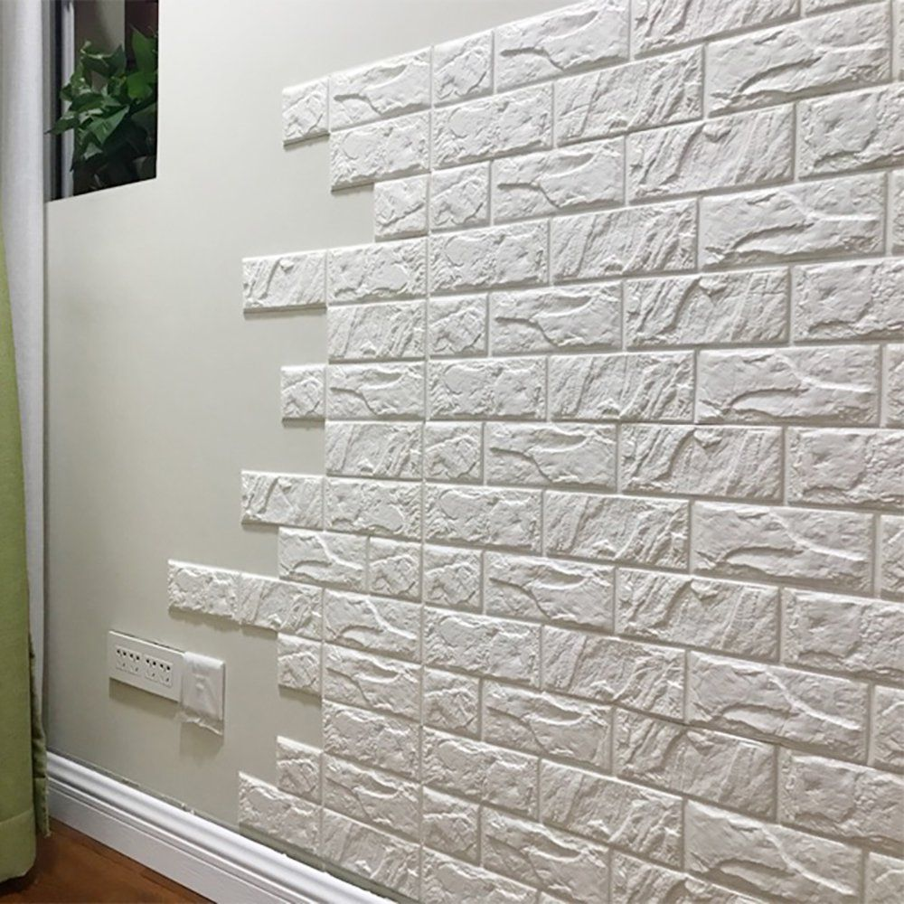 30 X 27 White Brick 3d Wall Panels Peel And Stick Wallpaper For Living Room Bedroom Background Wal In 2020 White Brick Wallpaper Faux Brick Wallpaper Brick Wallpaper