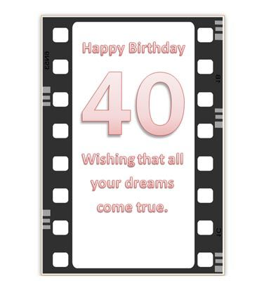 image regarding Printable 40th Birthday Card referred to as Printable 40th Birthday Card Inspiring 40th birthday