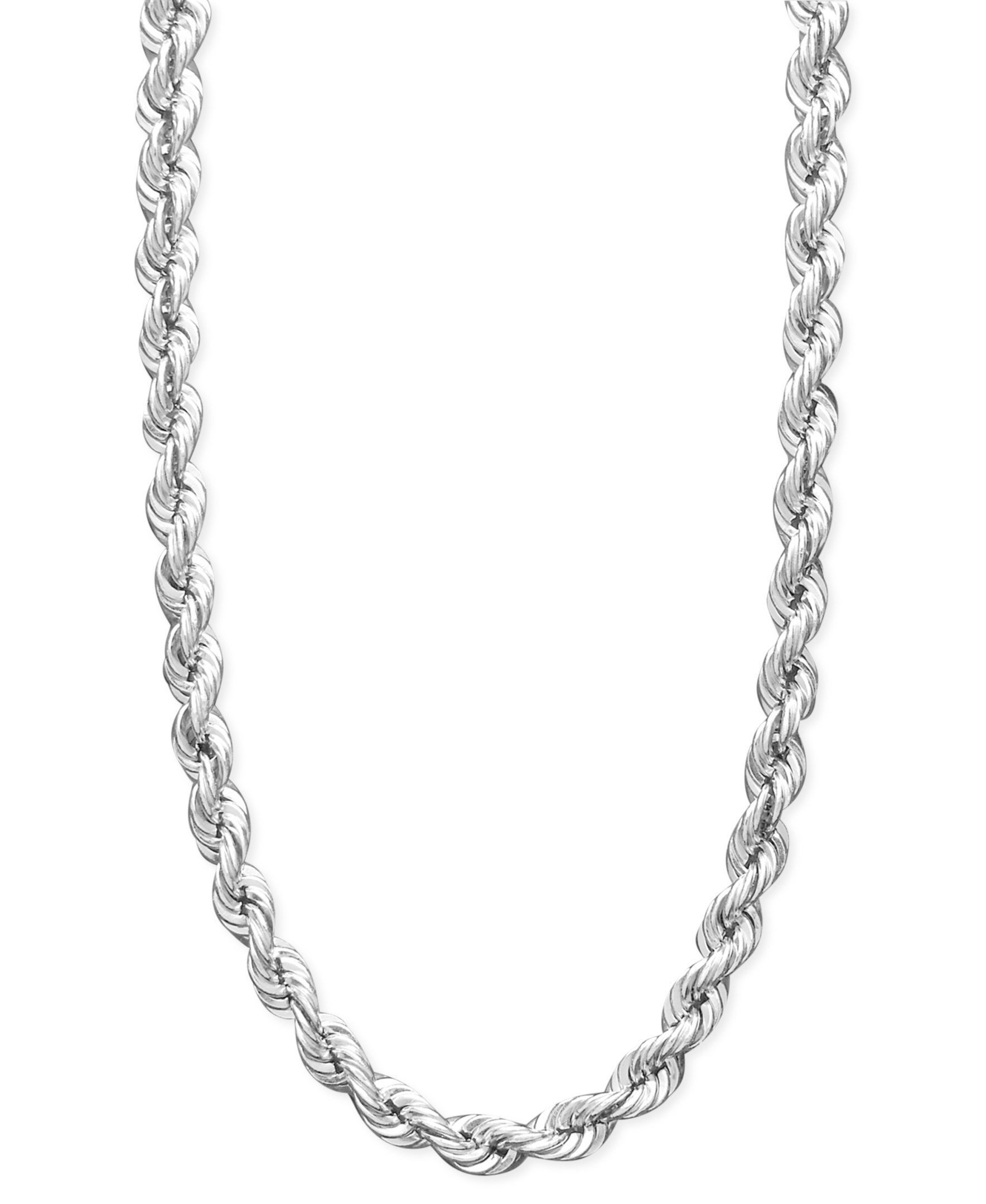0586aad07398 Fake Dookie Rope Chain Necklace 2mm Sterling Silver Diamond-cut Rope Chain  Necklace