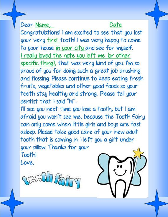 Personalized Boys and Girls Custom Letter from: Tooth Fairy, Santa