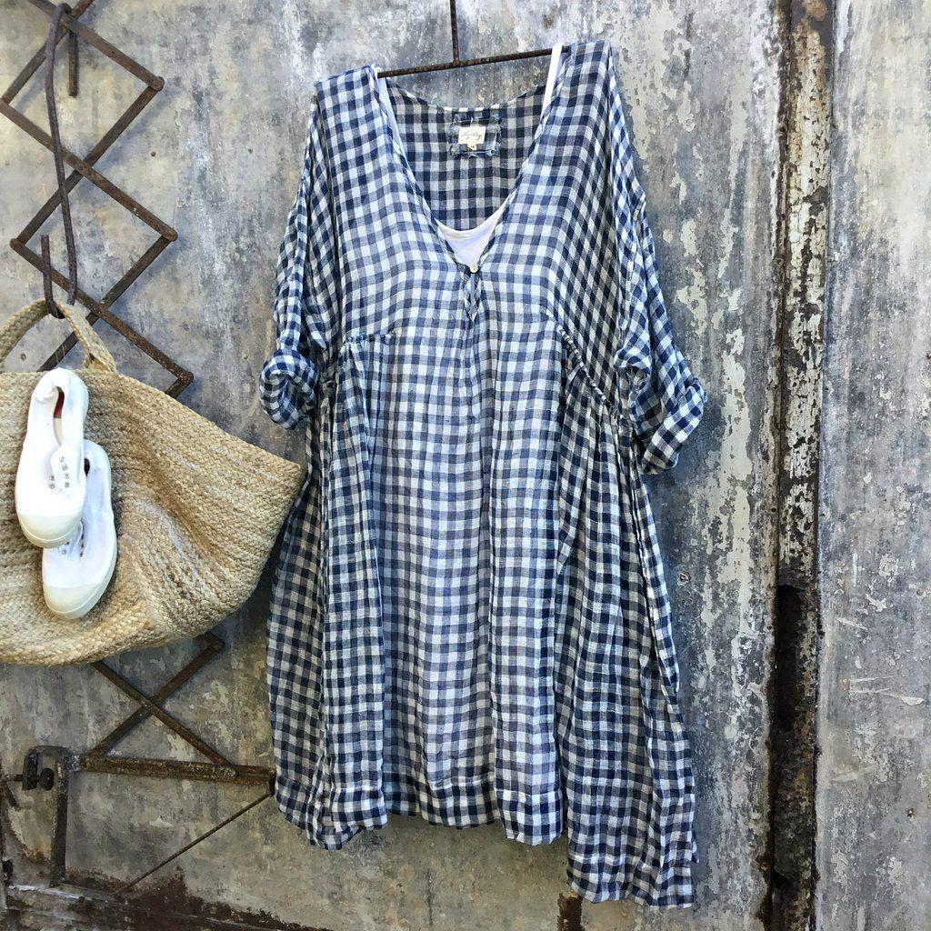 8f08f870db5 Merci Linen Dress - Navy and White Gingham Gauze