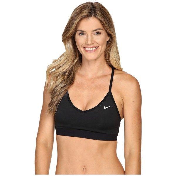 Nike Pro Indy Cross Back Light Support Sports Bra (Black/Black/White)... ($50) ❤ liked on Polyvore featuring activewear, sports bras, yoga activewear, nike sportswear, nike sports bra, nike activewear and criss cross back sports bra