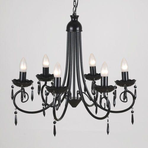 Large Gloss Black Modern 6 Arm Swirl Ceiling Pendant Light Fitting Chandelier | eBay