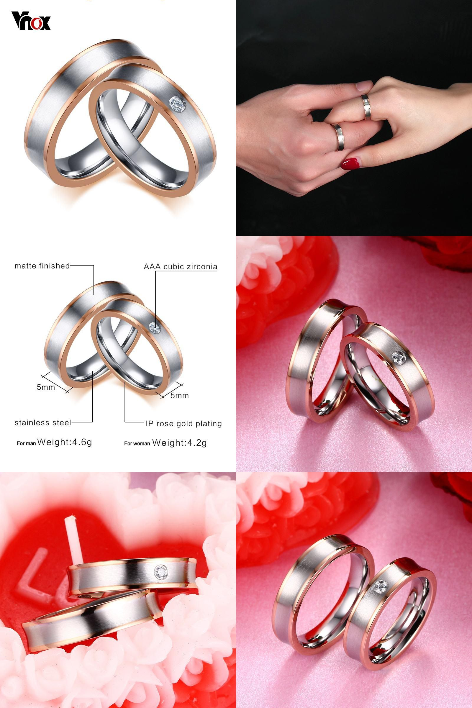 Visit to Buy] Vnox Dual Rose Gold-color Line Wedding Ring Band ...