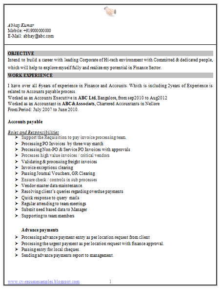 Professional Curriculum Vitae / Resume Template For All Job Seekers Resume  Sample Of A Accountant With
