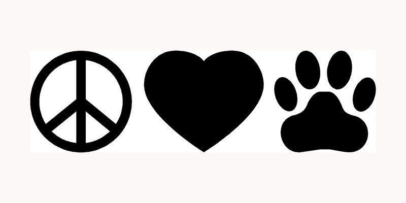 "laptop etc Peace Love Paw Car Window Dog or cat Vinyl Decal Sticker 6/"" White"