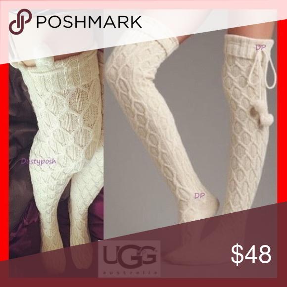 af24f0b95 UGG Sparkle Cable Knit Socks Thigh High Over Knee Amazing UGG sparkle pom  pom over the knee boots socks. Cute long thigh high socks with mini  pom-poms.