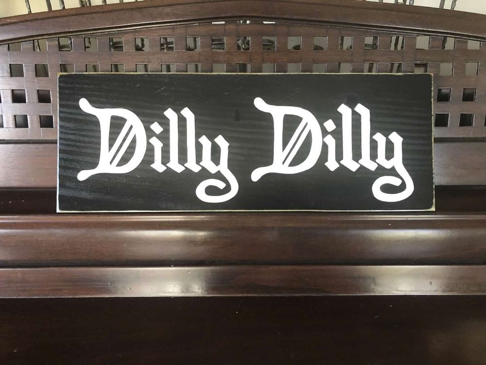 DILLY DILLY Pit of Misery Beer Home Bar Pub Cheers Tap Room Sign Plaque WOOD