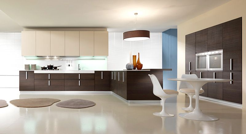 Pedini Magika Dark Brown Oak And Cream Textured Melamine Kitchen Design