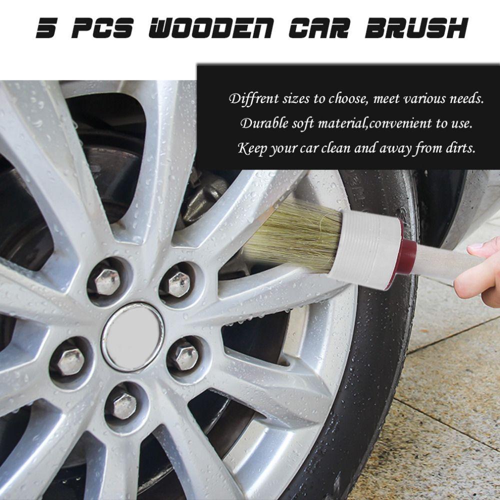 5PCS/LOT Wood Handle Car Brush Vehicle Cleaning Tools