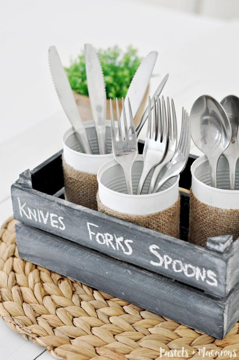 DIY wooden silverware caddy using upcycled tin cans. A quick and easy tin can craft that you can make in minutes. A great to upcycle old tins cans and an great kitchen organization idea. #tincans