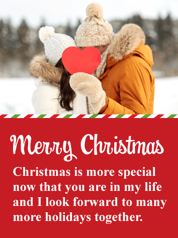 Couple In Love Romantic Merry Christmas Card Birthday Greeting Cards By Davia Christmas Card Sayings Merry Christmas Card Christmas Love Messages