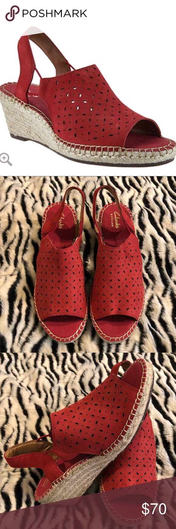 cc358f3d3f4 Colour Red · Wedge Flip Flops · Shoe · Clarks Leather Espadrille Wedges  Petrina Gail Brand new with tags. Women s Clarks Artisan Leather Espadrille