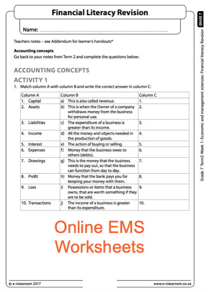 Grade 7 EMS Worksheet, Financial Literacy. Economic Management Science. For  More Worksheets V… Literacy Worksheets, Financial Literacy Lessons,  Financial Literacy