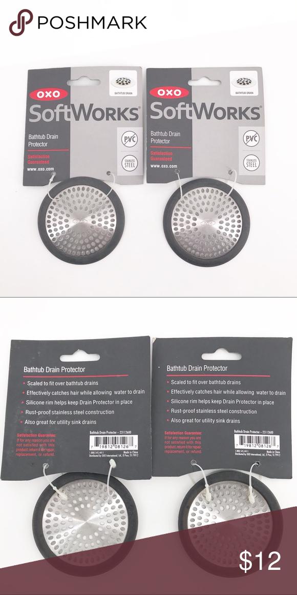 2 New Oxo Bathtub Shower Drain Protectors Set Of 2 New Bath Tub