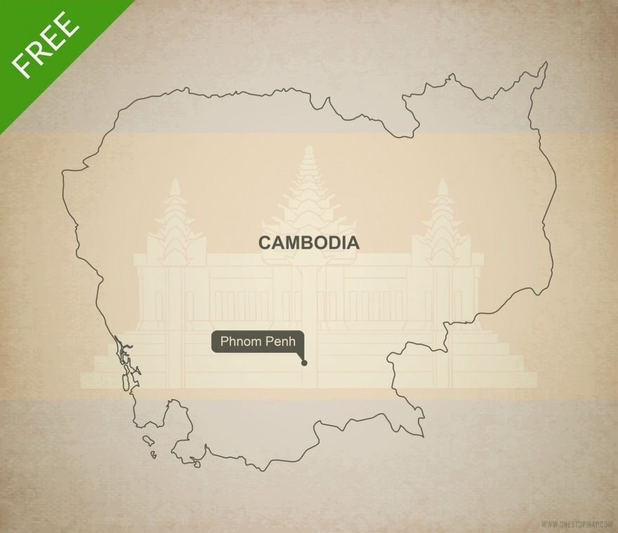 Cyprus Map Vector%0A Free Vector Map of Cambodia Outline