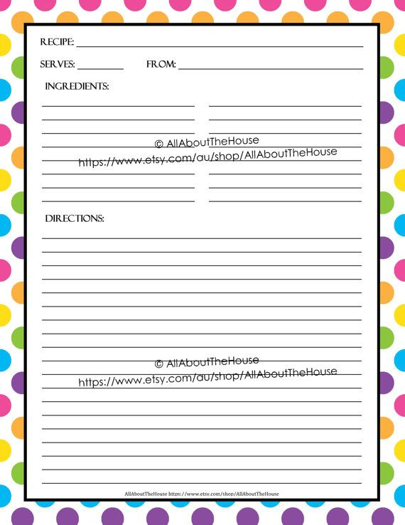EDITABLE Printable recipe card, Template, pdf, sheet, recipe page