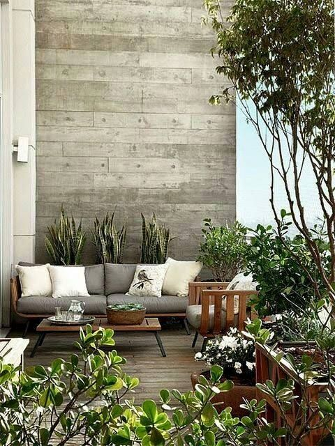 Give A Cozy And Arm Look To Your Balcony By Adding Couches, A Small Coffee  Table And A Wooden Themed Wall. Try To Pick Colors That Are Not Too Flashy  But ...