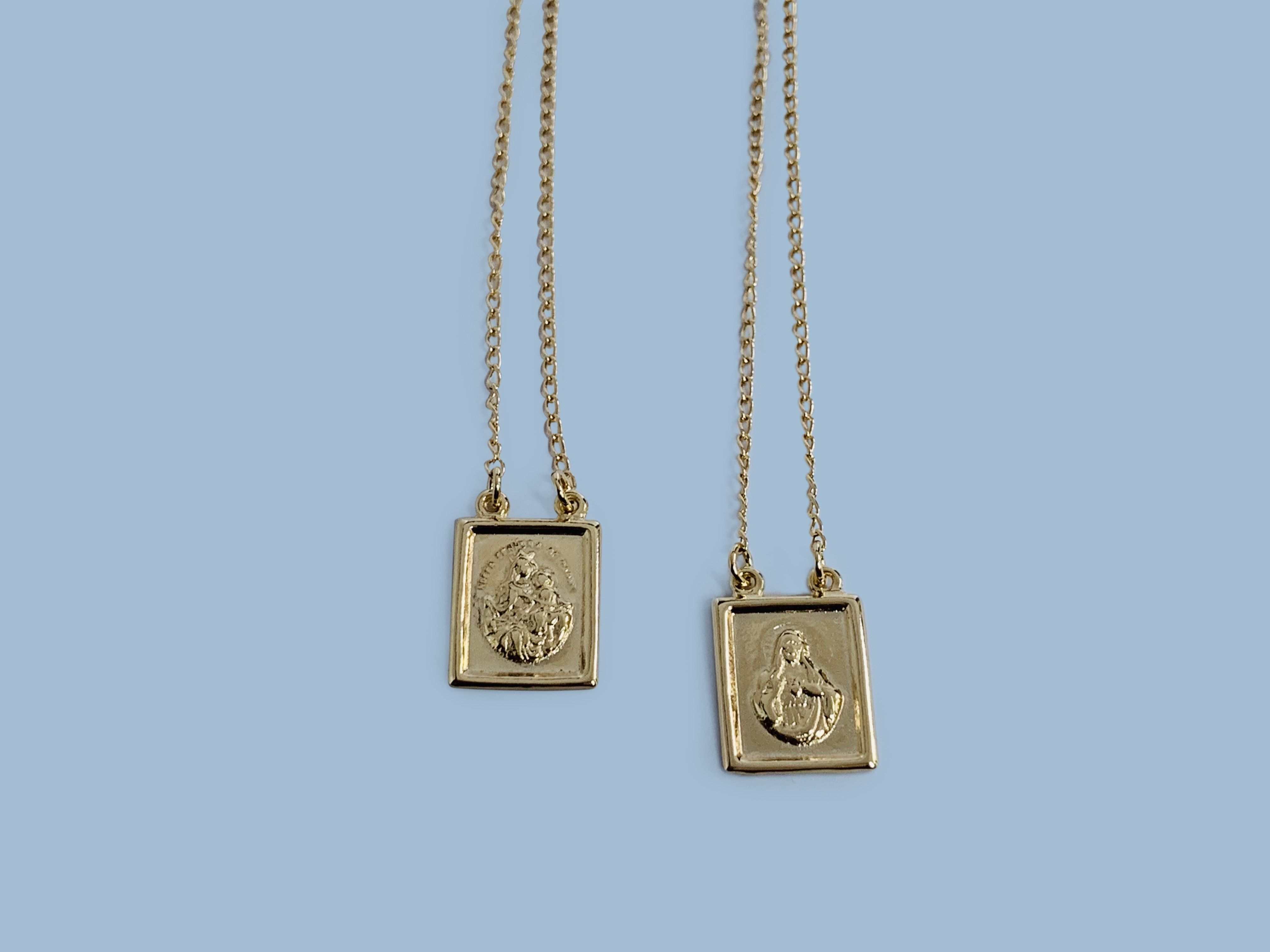 Wear This Scapular Necklace As A Symbol Of Devotion To The Blessed Virgin Mary And As A Sign Of Trust In Her Promi Scapular Necklace Scapular Catholic Necklace