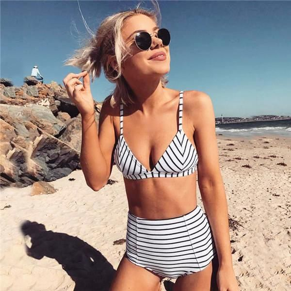 1ab5cc6e605 Buy Spring Summer 2018 Swimwear Trends Women s Sexy V-Neck Black And White  Striped High Waisted Two Piece Bikini Bathing Suit on Sale by PesciModa.  Shop ...