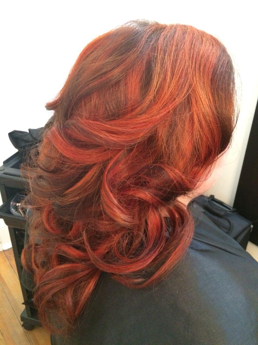 Orange red chunky highlights with dark brown lowlights ...