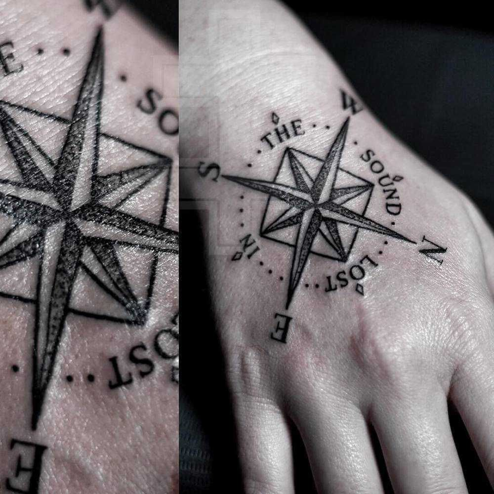 Simple Compass Tattoo On The Right Hand Compass Tattoo Simple Compass Tattoo Tattoo Quotes