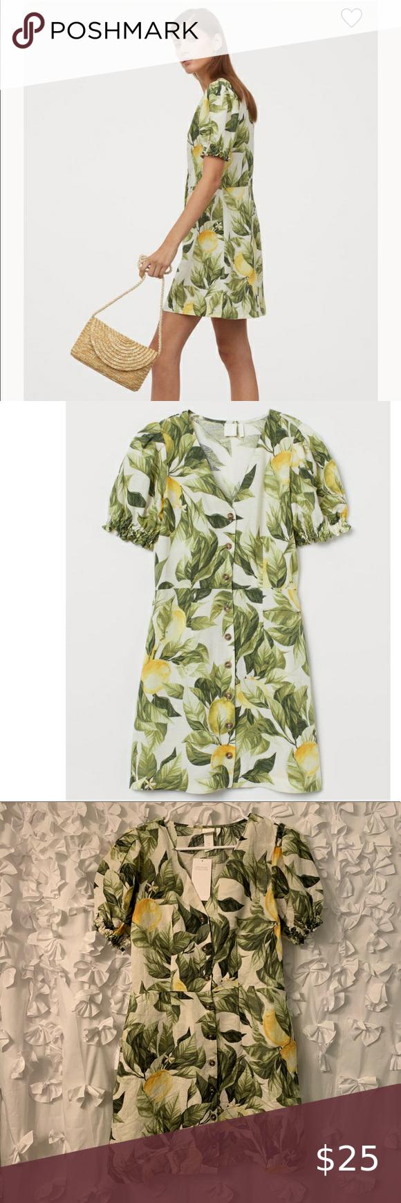 Nwt H M Puff Sleeved Dress In Lemon Print Puffed Sleeves Dress Dresses With Sleeves Puff Sleeve Dresses [ 1740 x 580 Pixel ]