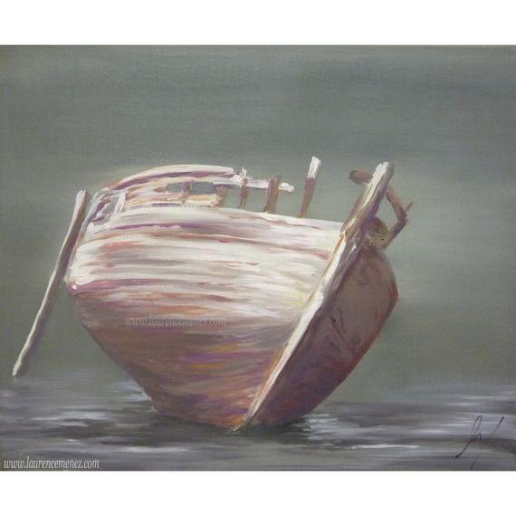 Epave V Peinture De Bateau échoué Sur Fond Vert Bateaux