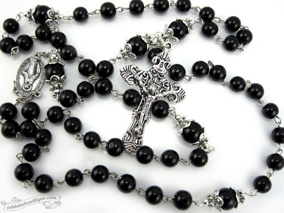 Black rosary necklace Miraculous Medal Onyx by OohlalaBeadtique, $32.00 #rosary #catholic #turquoise #pope #gift #confirmation #jesus #christ #vatican #crucifix #cross #virgin #ourlady #rosaries